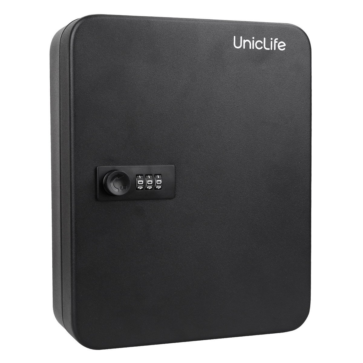 Uniclife 48 Key Cabinet Steel Security Lock Box with Combination Lock, Black, Wall Mount