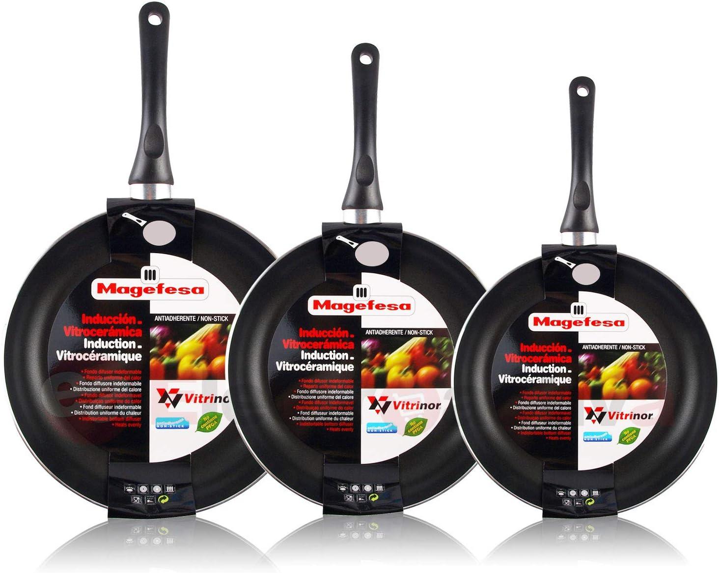 Magefesa Vitral - Set Juego 3 Sartenes 20-24-28 cm Aluminio, inducción, Antiadherente Libre de PFOA, Limpieza lavavajillas Apta para Todas Las cocinas, vitroceramica, Gas.