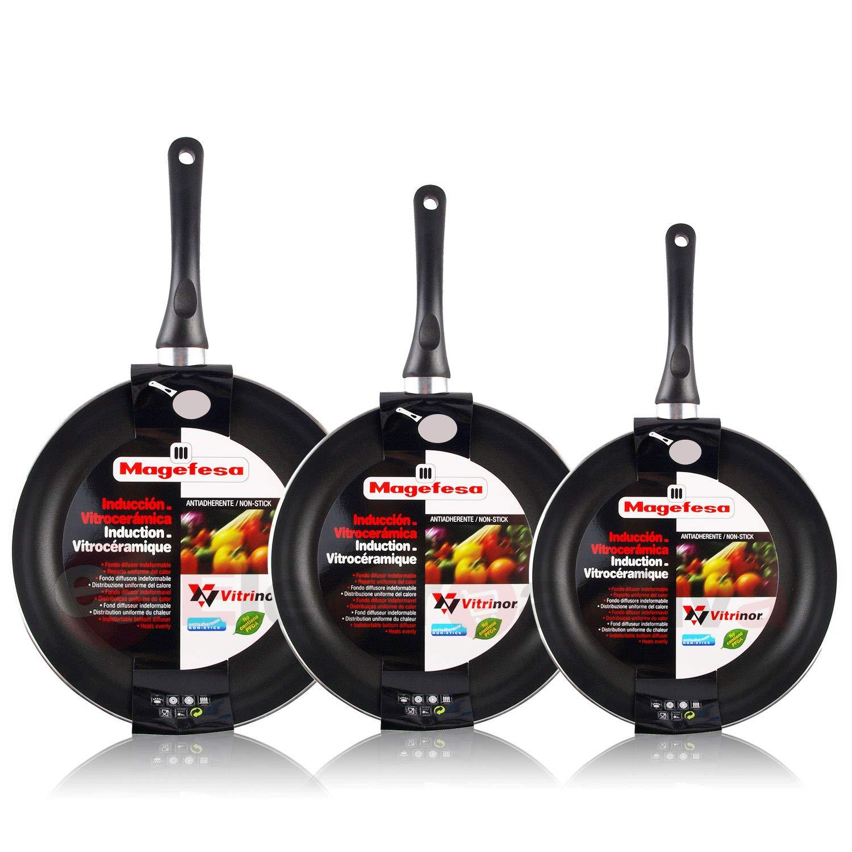 Magefesa Vitral - Set Juego 3 Sartenes 18-20-24 cm aluminio, inducción, antiadherente libre de PFOA, limpieza lavavajillas apta para todas las cocinas, ...