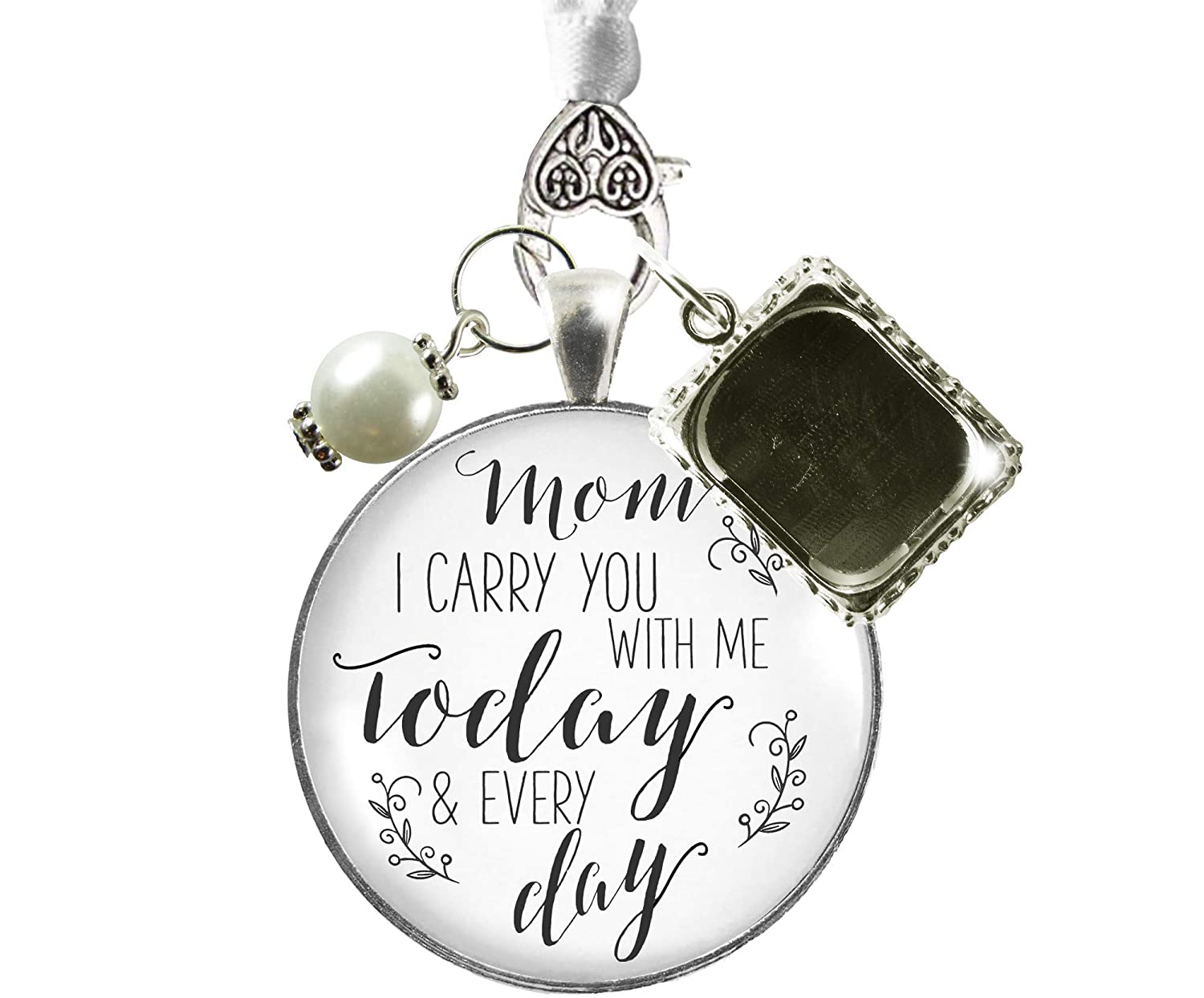Bridal Bouquet Photo Charm Mom I Carry You Wedding White Silver Finish Memory Jewels