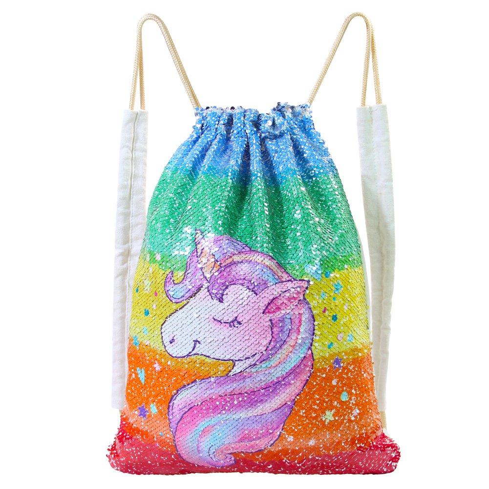 Basumee Unicorn Mermaid Sequin Bag Reversible Sequins Drawstring Backpacks