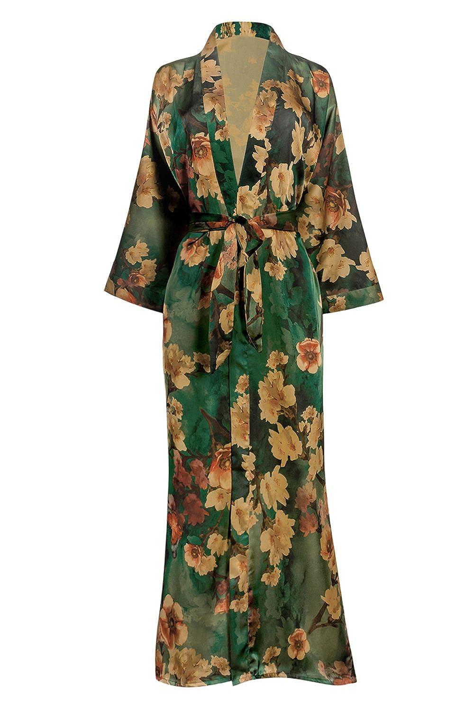 Old Shanghai Women's Kimono Robe Long - Watercolor Floral Azumi- Green