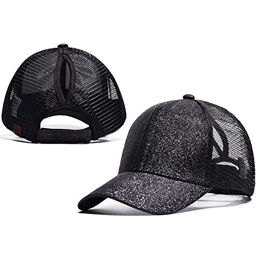 Amazon.com  HADM Womens Glitter Baseball Cap Distressed Dad Hat ... e257de0d031