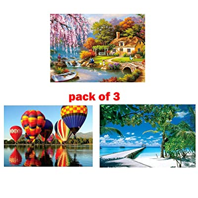 Most popular Jigsaw Puzzles Pack of 3- Each 1000PCs, Puzzle for Adults Kids - Educational Intellectual Decompressing Fun Family Game ,Pieces Fit Together Perfectly,DIY Collectibles Modern Home (A): Sports & Outdoors