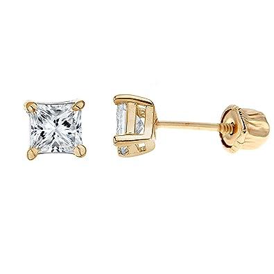 56a7085a2 Ritastephens 14k Yellow Gold Square Princess-cut Cubic Zirconia Screw Back  Stud Earrings 4 Mm