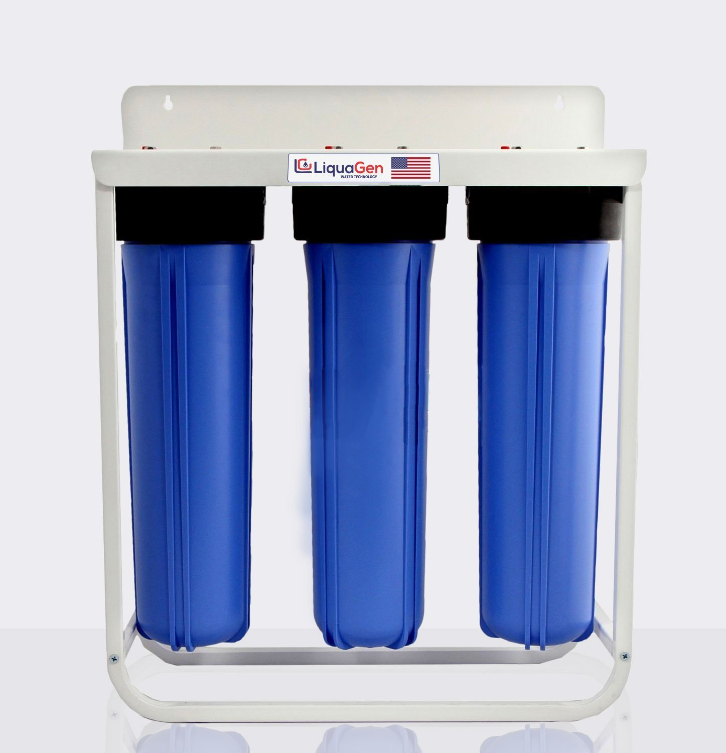 3 Stage - Floor Mount Triple Big Blue Whole House Heavy Duty Water Filter System (Iron, Manganese & Hydrogen Sulfide Removal)