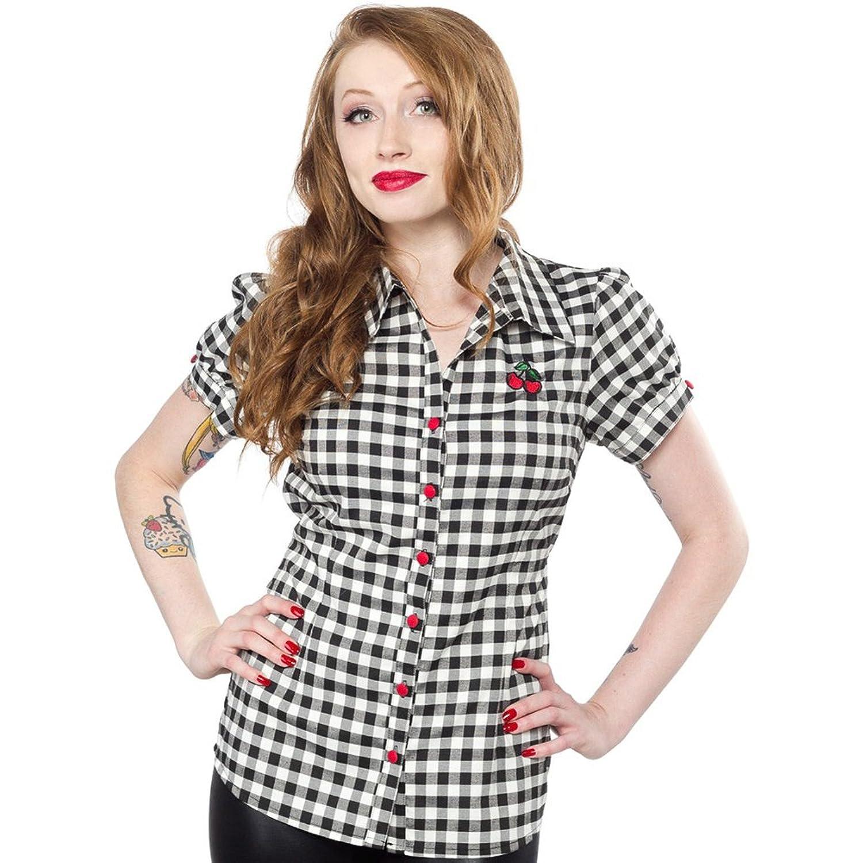 Women's Sourpuss Cherry Gingham Top Black and White