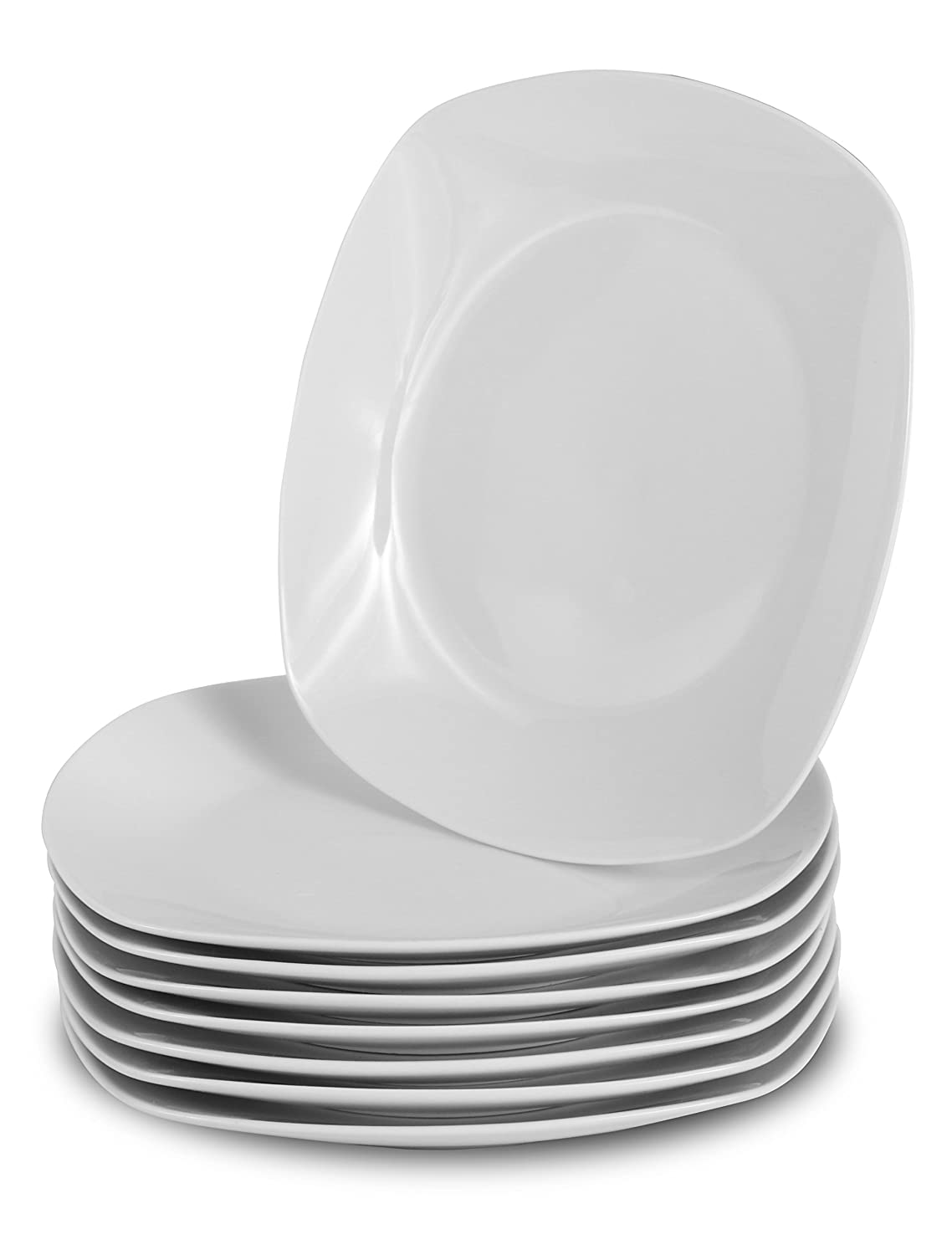 Klikel 8 White Dinner Plates | Porcelain Square Dinnerware | 10 Inch Classic Solid Coupe Style Plate Set