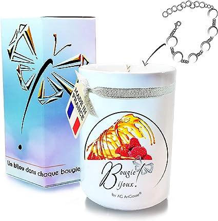 AG Artgosse Bougie Bijoux • Bougie Parfumée Framboise Caramel + Bracelet  Cristal Swarovski éléments Femme • Coffret Cadeau Artisanal • Suédine + ...