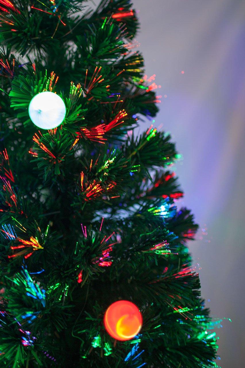 Amazon.com: 7 FT PRE-LIT MULTI COLOR LED LIGHTS & FIBER OPTIC ...