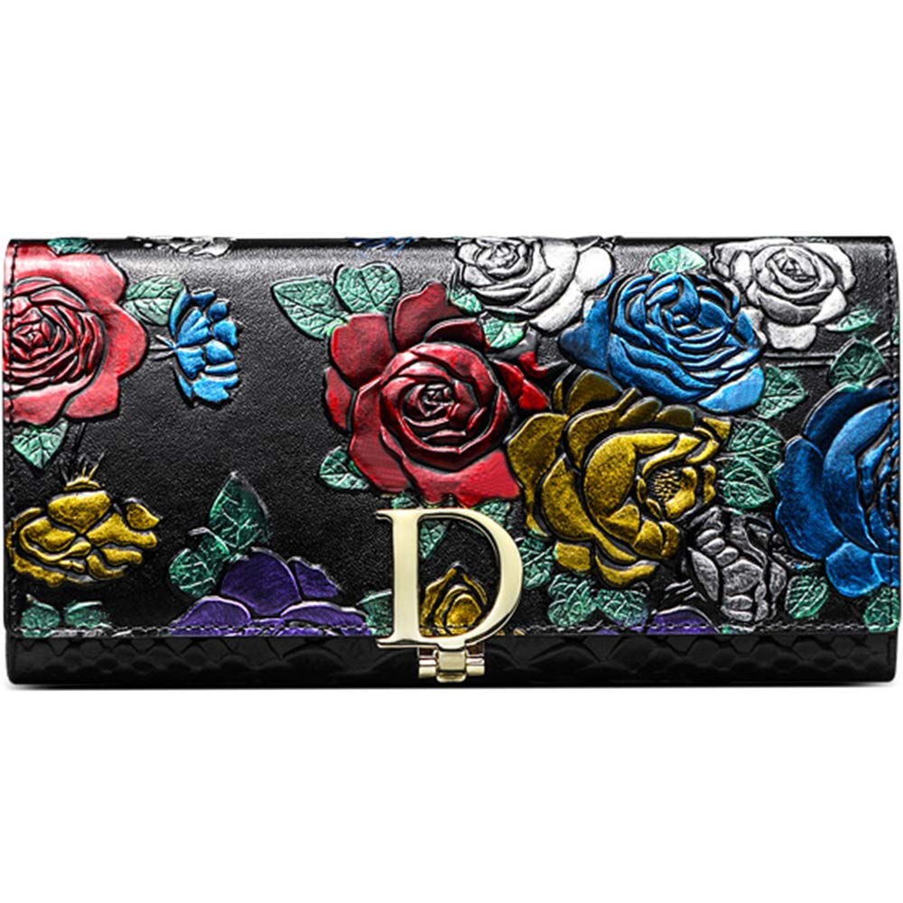 Ladies Leather Purse, XBoze 3D Stereoscopic Rose Pattern Women Leather Wallet Large Capacity Ladies Purses with Credit Card/Cash/Phone/Zipper Pocket Long Purse Wallet for Women (Black)
