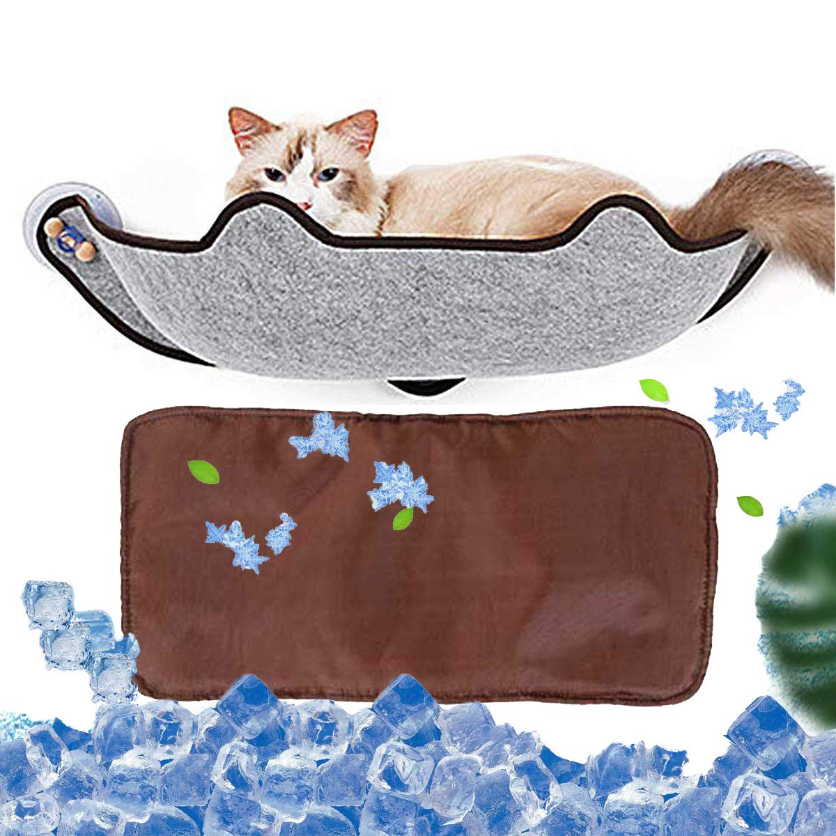 KOBWA Cat Window Bed, Cat Window Perch Mounted Cat Bed Seat Lounger with 1 Mat and 3 Large Suction Cups Cat Resting Sofa Safe Sunbath Holds up to 40 lb by KOBWA