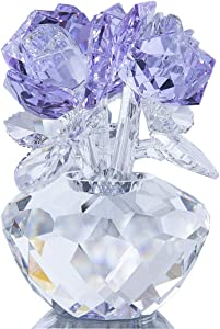 H&D HYALINE & DORA Crystal Rose Flowers Crystal Figurines Ornament with Gift Box (Purple)