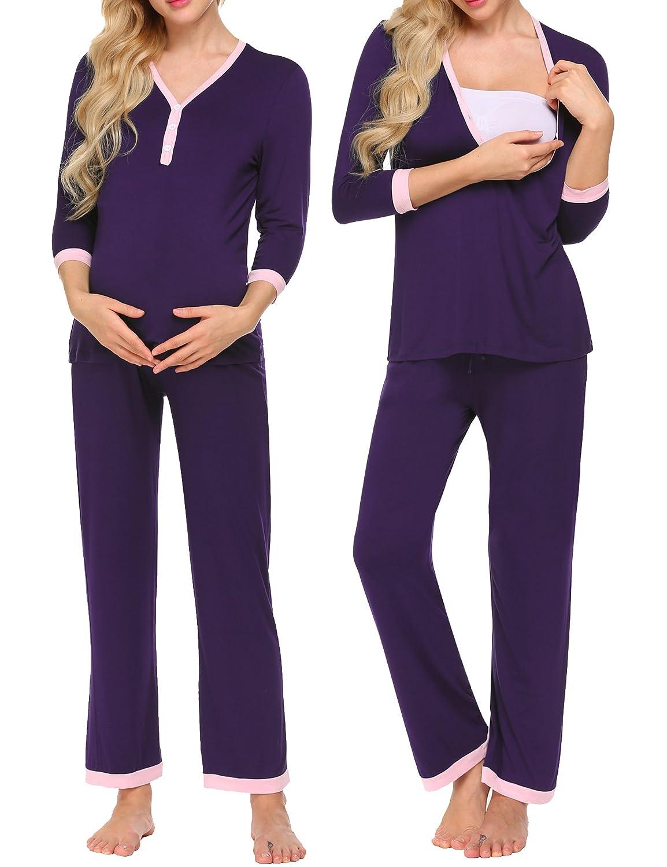 Unibelle Damen Stillpyjama-Umstandspyjama-Schlafanzug Zweiteilig Hausanzug Pyjamas 3/4 Ärmel V-Ausschnitt mit Knöpfeleiste Loungewear TYK000178