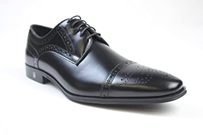 41baccb6ad0db Amazon.com: Versace Collection Wing Tip Lace Up Black Leather Shoes ...