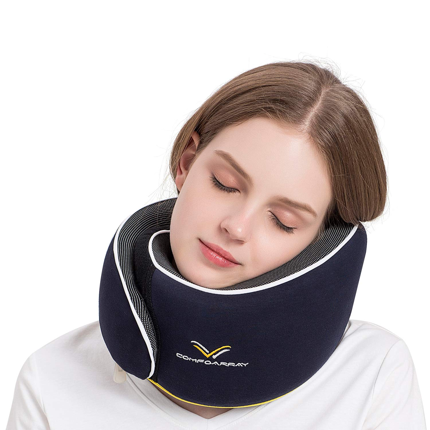 ComfoArray Travel Pillow, Neck Pillow for Airplane and Car. New Upgrade in 2019,Wider Adjustable Range, Suitable for Everyone's Size. Enhanced Front Support Effect.A Whole Set of Travel Kit. by ComfoArray