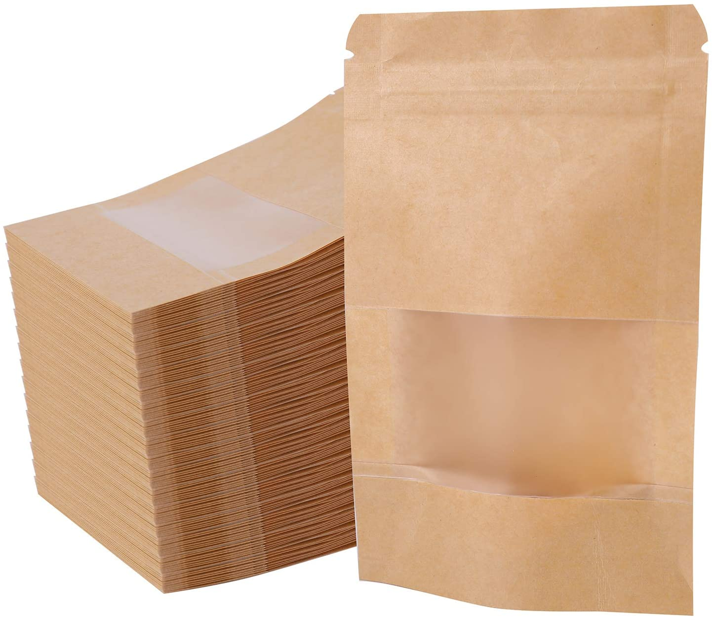 Kingrol 300 Pack 3.5 x 5.5 Inch Kraft Paper Bags with Resealable Lock Seal Zipper &Transparent Window, Stand Up Food Bags