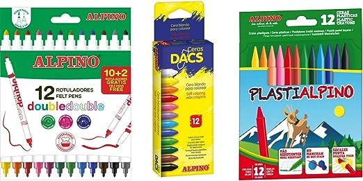 Alpino pack: Estuche con 12 ceras Dacs + Bolsa 10 rotuladores Double Estuche Alpino + Estuche con 12 ceras Alpino: Amazon.es: Oficina y papelería