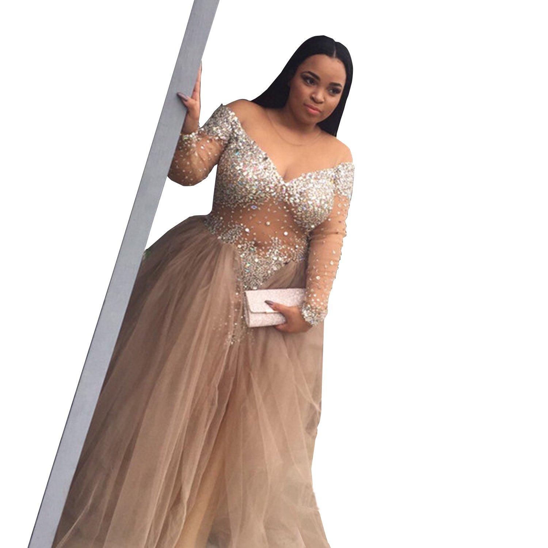 Wdress Plus Size Prom Dress Champagne Rhinestone Transparent ...