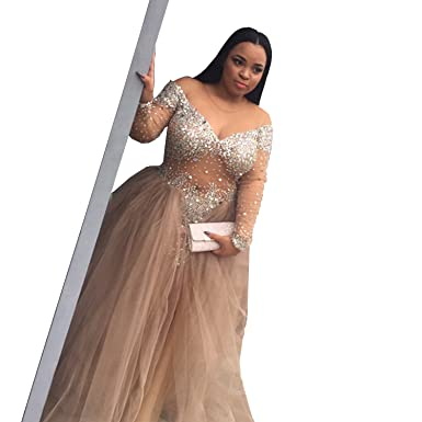 Wdress Plus Size Prom Dress Champagne Rhinestone Transparent Tulle ...