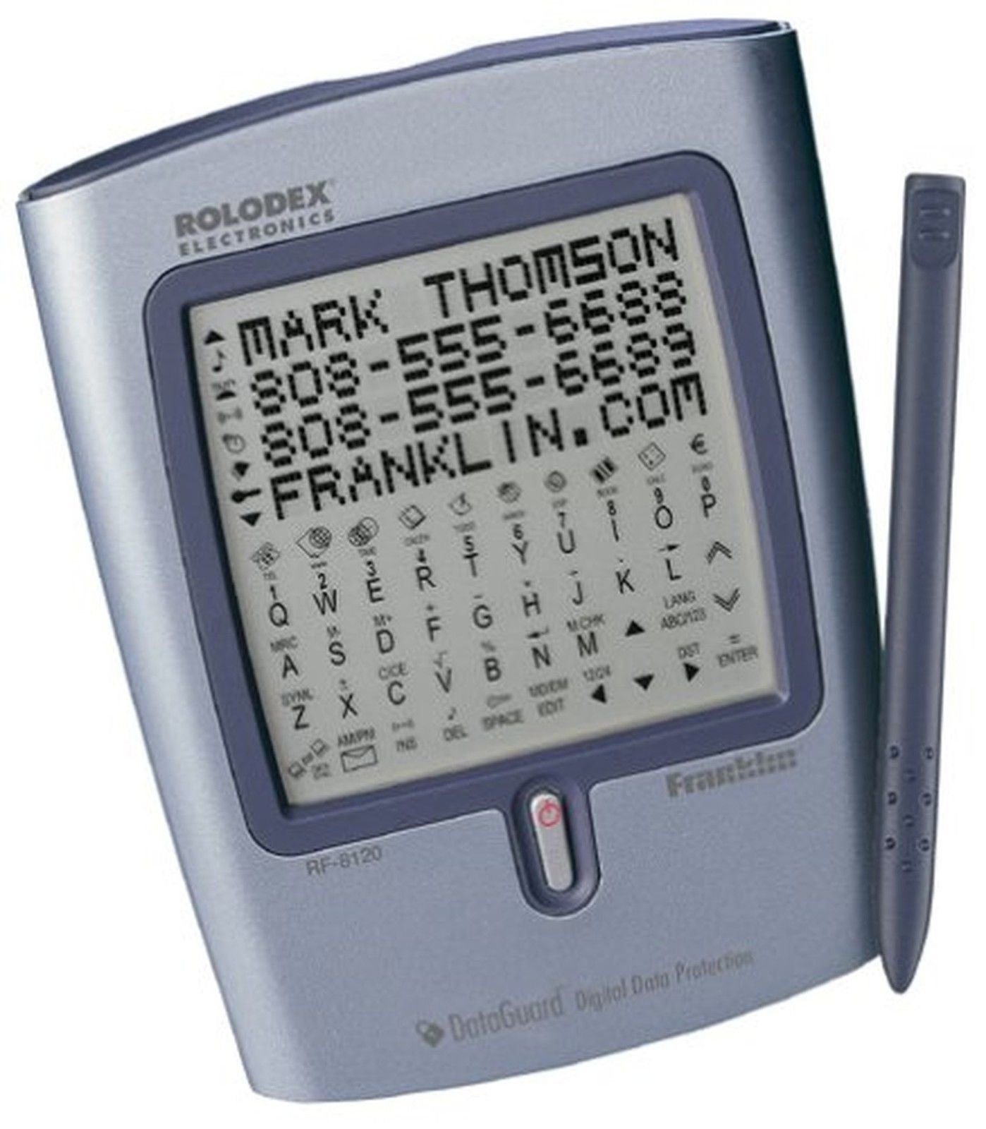 Franklin RF-8120 384K Palm Style Touch Screen PDA Franklin offers a one-year warranty 4-line, adjustable contrast display