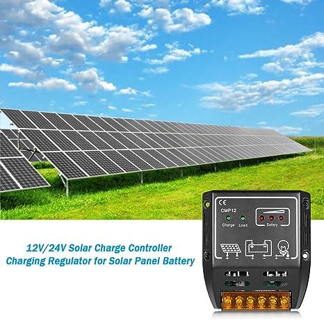 Amazon.com: docooler Controlador de carga solar de 10A 12V ...