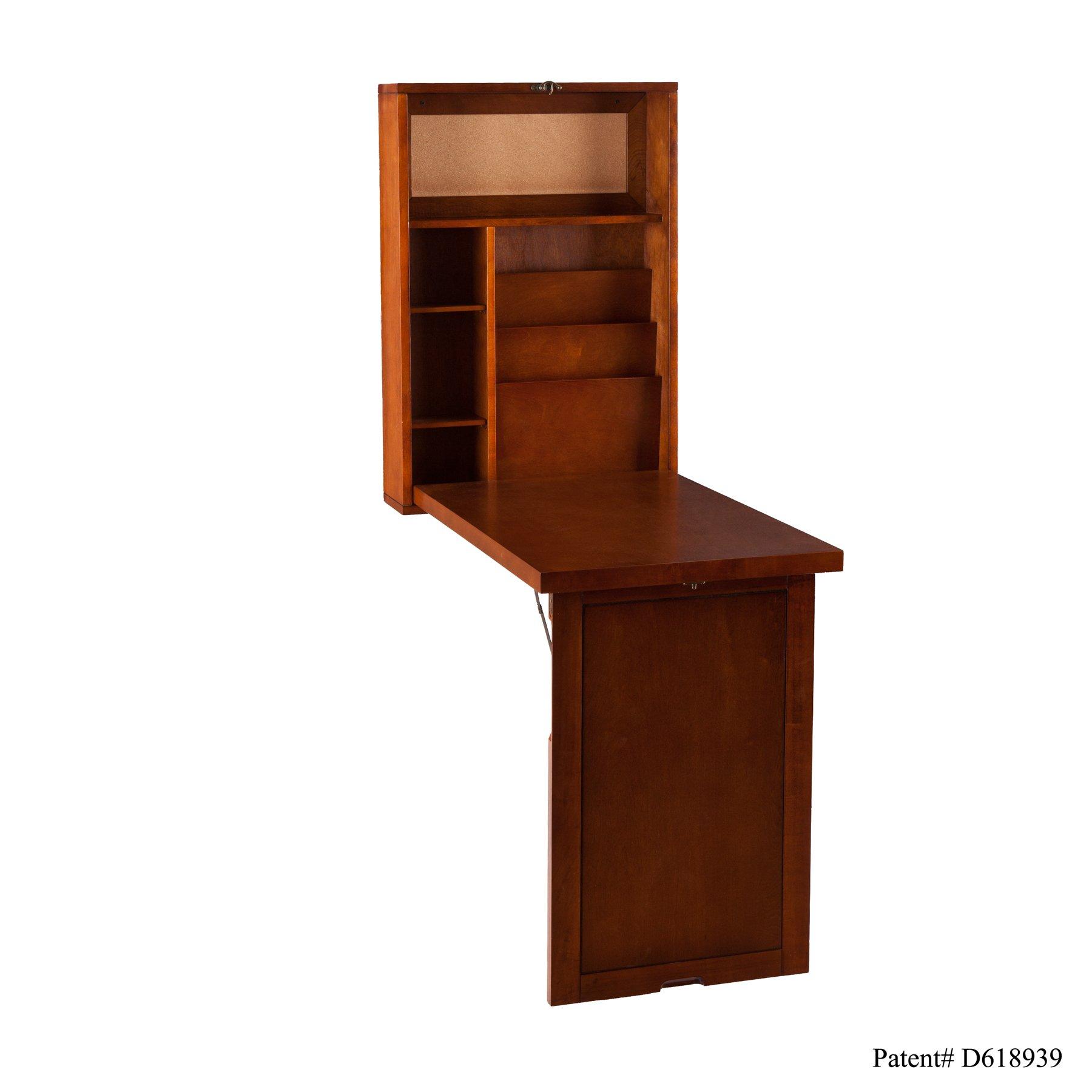Southern Enterprises Fold-Out Convertible Desk 22'' Wide, Walnut Finish