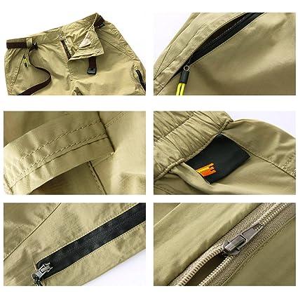 Rmine Trekkinghose Zip Off Atmungsaktiv Wanderhose Outdoor Hose Entfernbar  Schnell Trockend (Mit Gürtel) (Khaki, XL)  Amazon.de  Sport   Freizeit ed71c6fd78