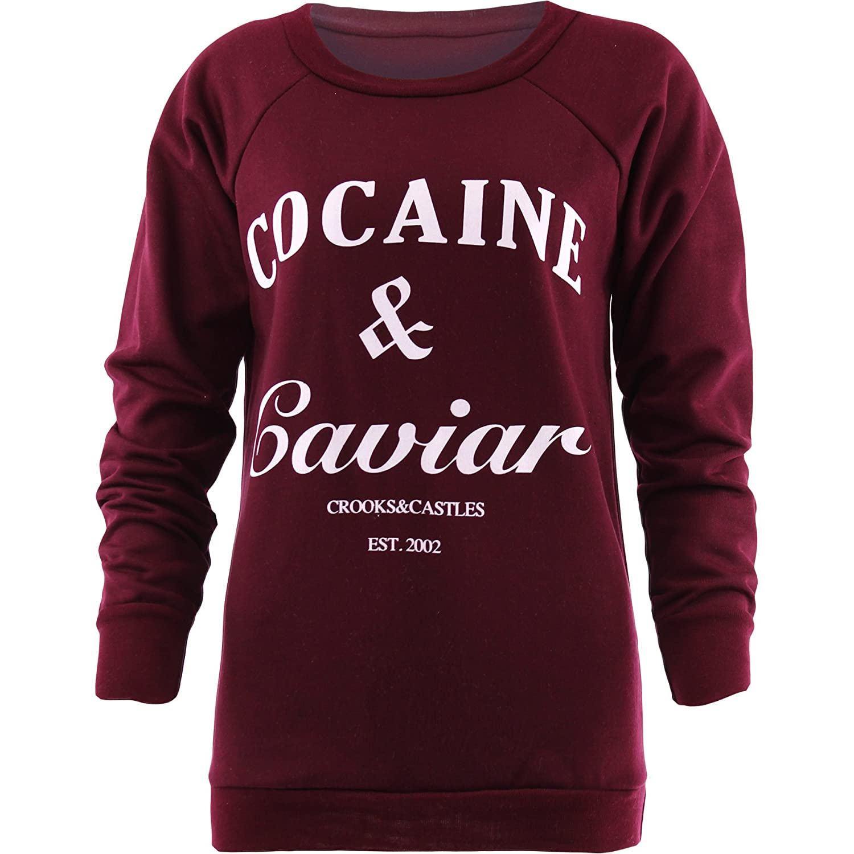 Womens Sweatshirt Rihanna Cocaine And Caviar Print Jumper Sweater Casual Tops
