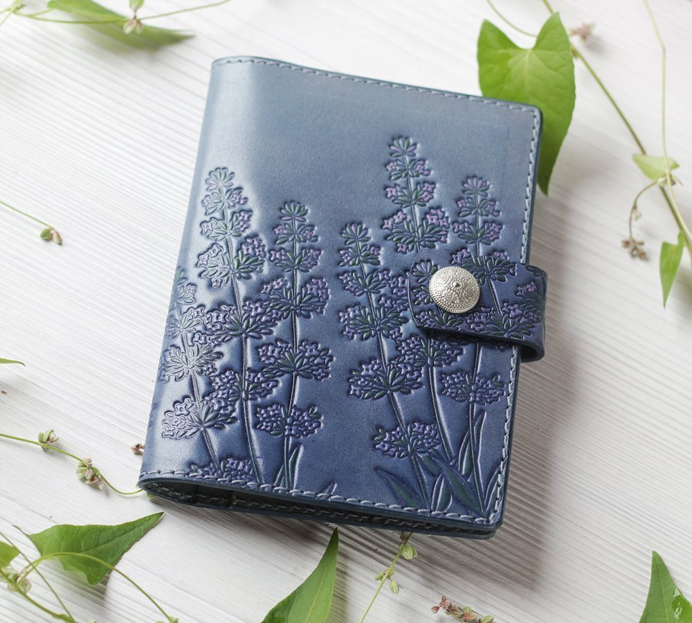 Handmade Leather Passport Wallet with Card Holder, Dusty Blue Personalized Travel Wallet with Snap Closure for Women Ladies