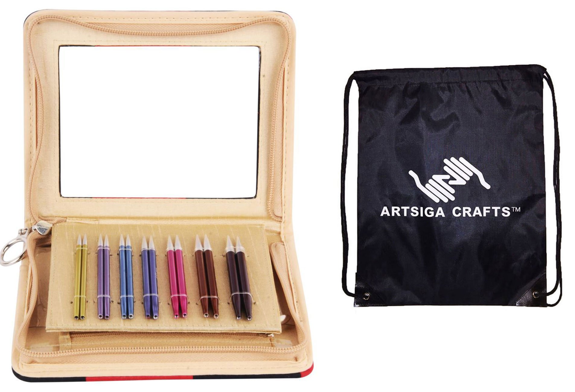 Knitter's Pride Knitting Needles Zing Interchangeable 3.5 inch Special Needle Set Bundle with 1 Artsiga Crafts Bag 140302