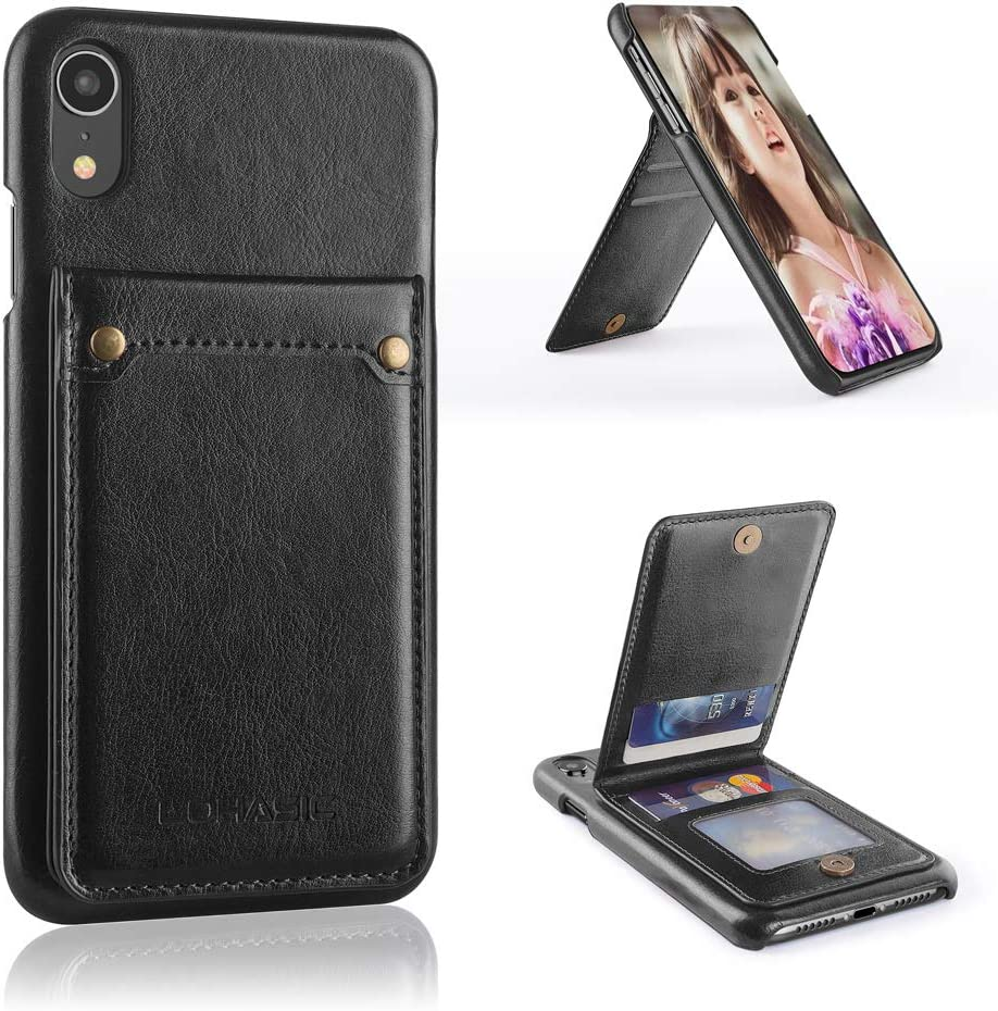 Magnetic Closure Apple iPhone XR 6.1 Cases Premium Wallet Leather Flip Case Cover For iPhone XR 6.1 Card Holder Black