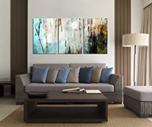 """wall26 3 Panel Canvas Wall Art - Abstract Grunge Color Compositon - Giclee Print Gallery Wrap Modern Home Art Ready to Hang - 36"""" x 24"""" x 3"""