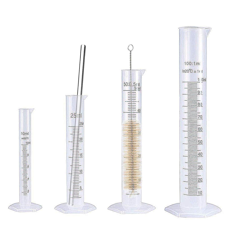 Conjunto de 6 Tubos de Ensayo de Laboratorio de Cilindro Cilíndrico Graduado con Cepillos de Limpieza y Barra de Agitación de Vidrio, Probetas Plastico Cilindro de Medición 10 ml 25 ml 50 ml 100 ml