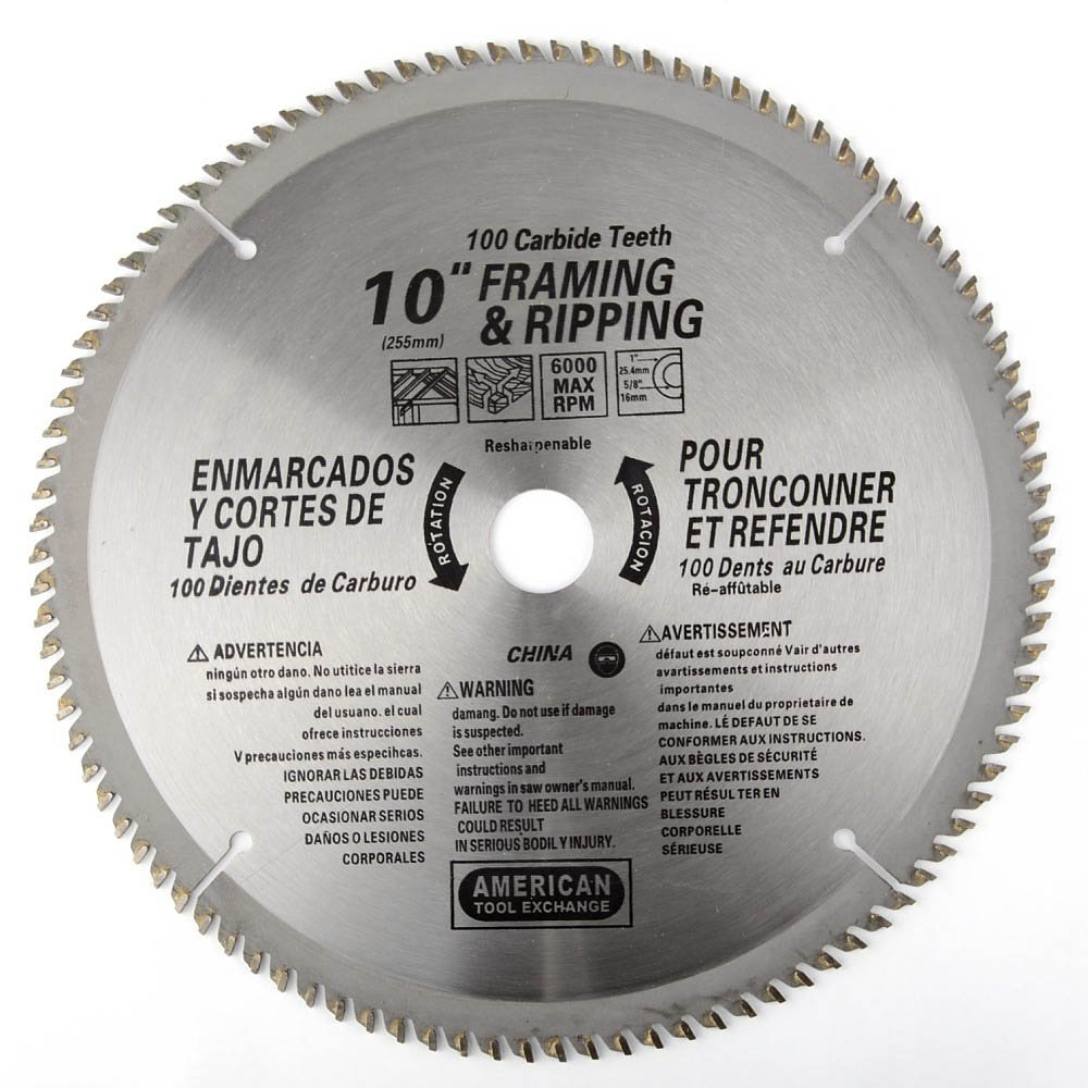 ATE Pro. USA 33085 100 Teeth Carbide Blade, 10'' by Cvf Supply