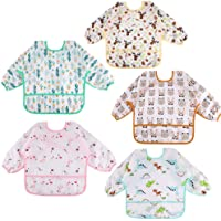 5 Pieces Waterproof Unisex Feeding Bibs AntiDressing Bibs Baby Drool Bibs Painting Apron