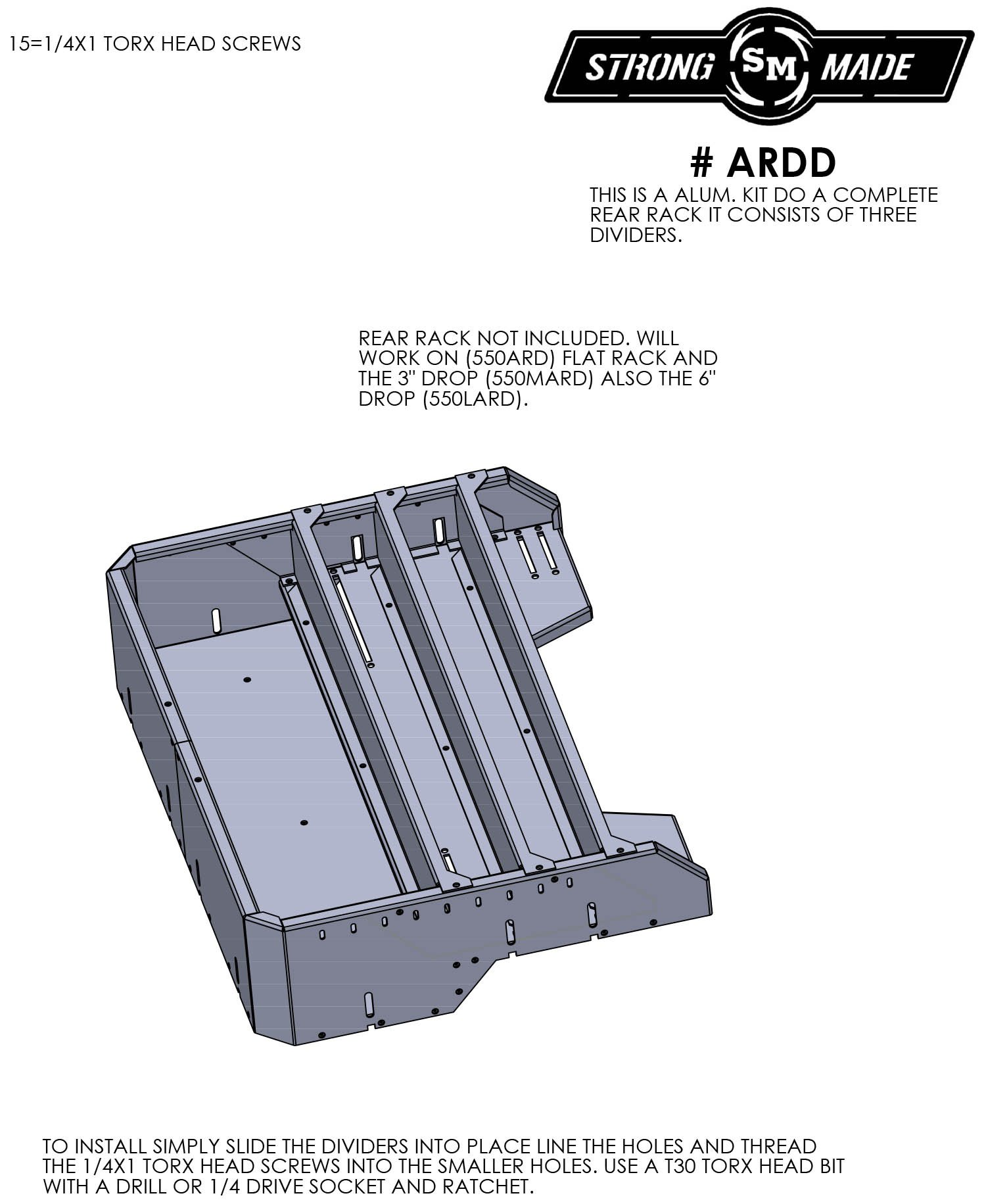 Divider Kit For ARD Rear Racks by Strong Made ARDD