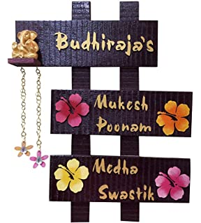 Buy Newly Handicraft Wooden Family Name Plate Laser Cut Multicolour