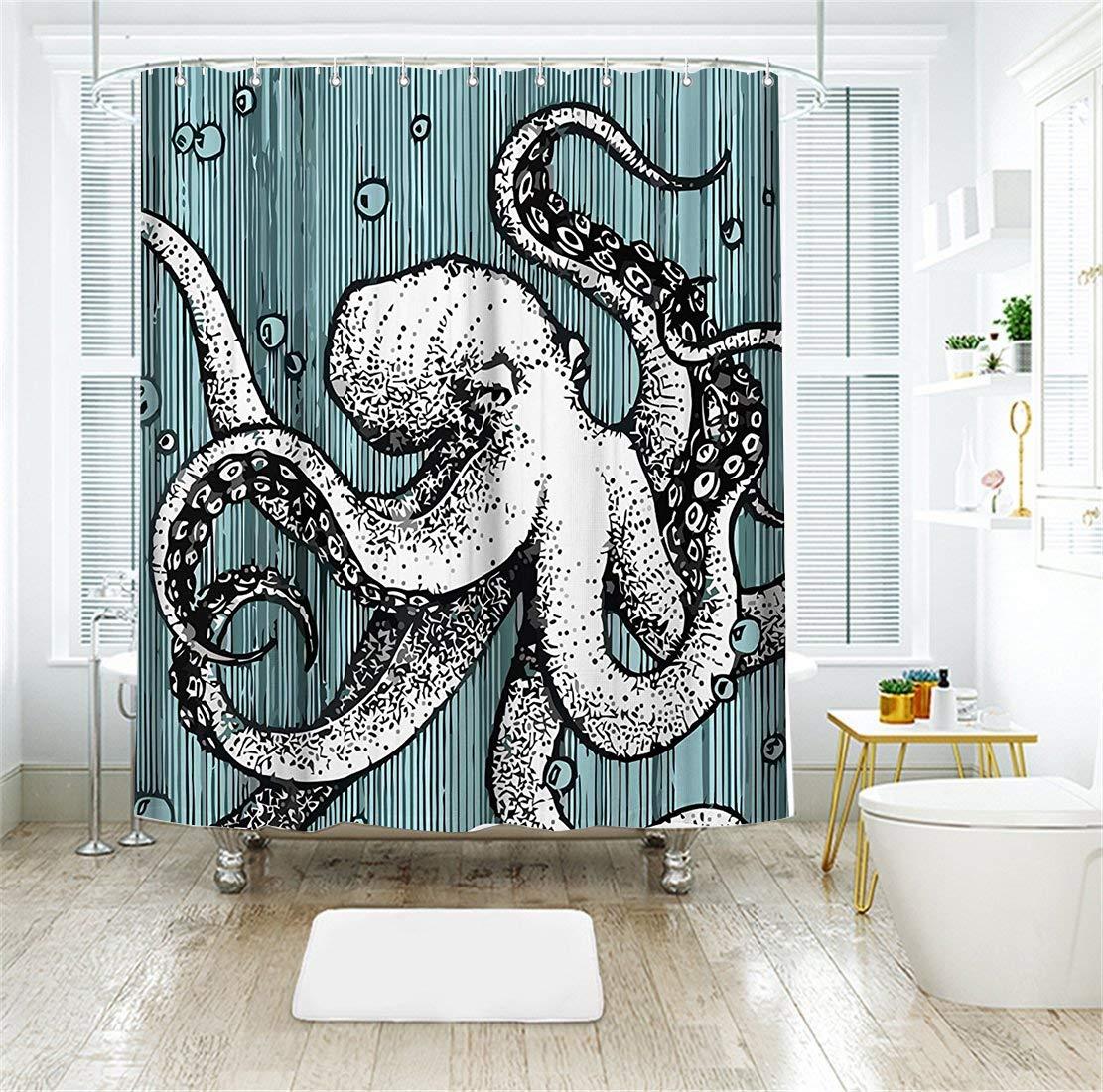 Livilan Octopus Shower Curtain Set 72'' x 72'' Decorative Mildew Resistant Waterproof Polyester Fabric Bathroom Curtain,Blue