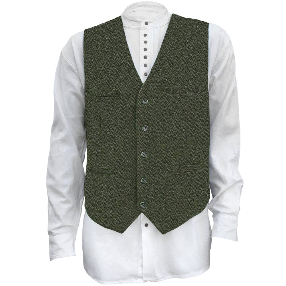 The Celtic Ranch Men's Irish Full Back Herringbone Tweed Wool Blend Vest in 3 Traditional Color Choices