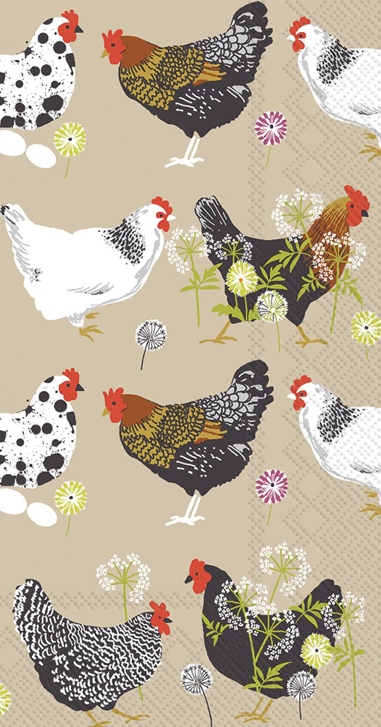 Ideal Home Range 16 Count Spatter Hens Linen Paper Guest Buffet Towel Napkins