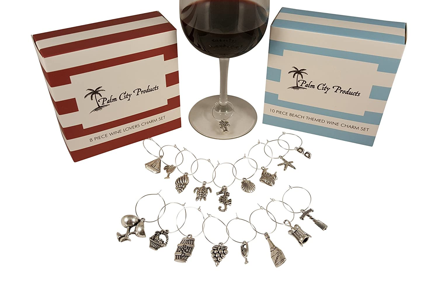 Bundle of Two Wine Charm Sets 18 Pieces Total Beach and Wine Themes
