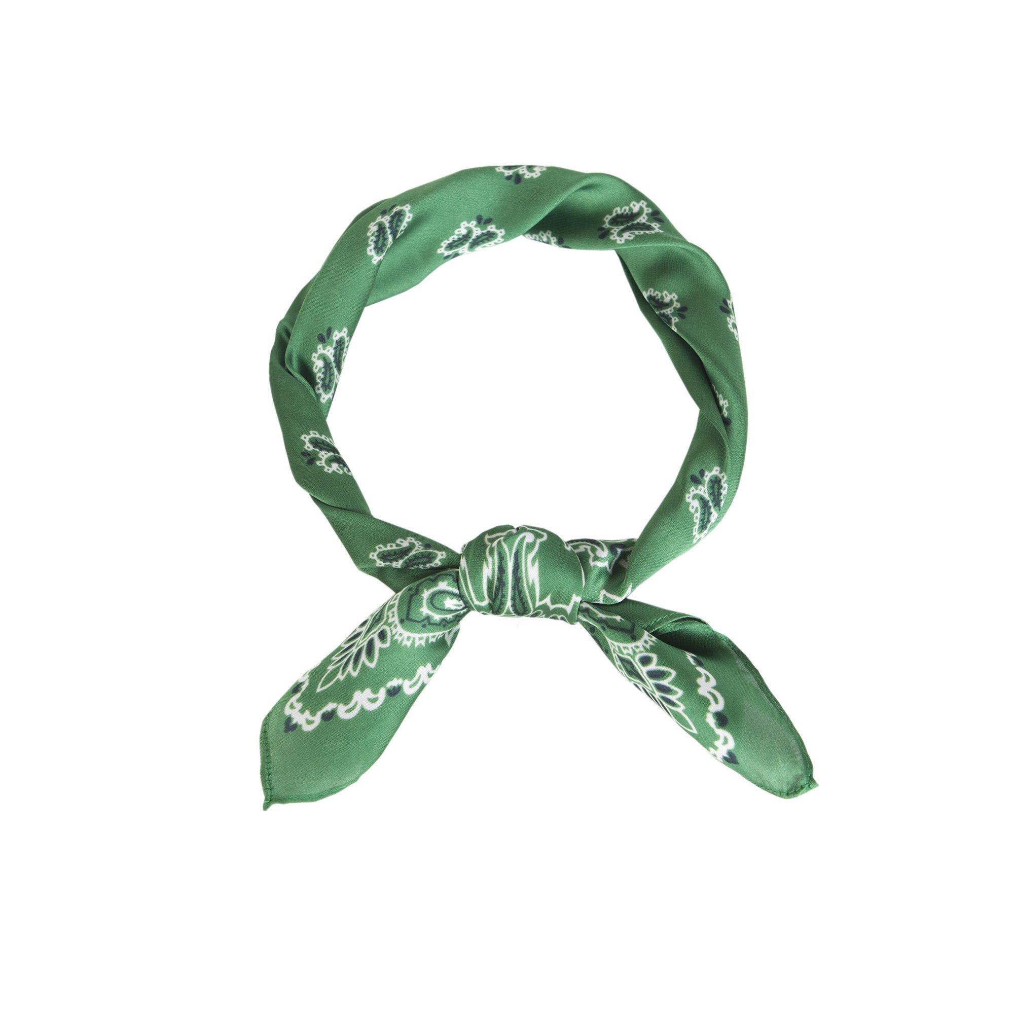 Lusm Women's Soft Lightweight Polyester Square Beach Bandana Summer Neck Scarf Black (green paisley)