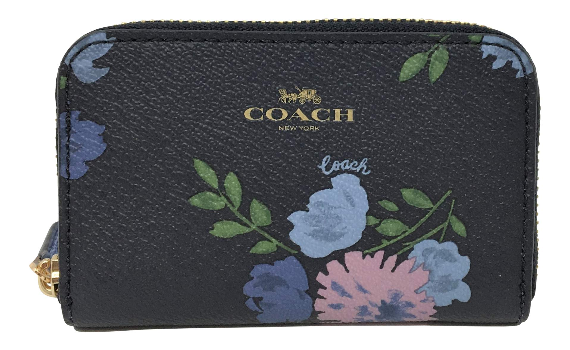 Coach Coated Canvas Zip Around Card Case in a Painted Peony Print Navy Multi F73350