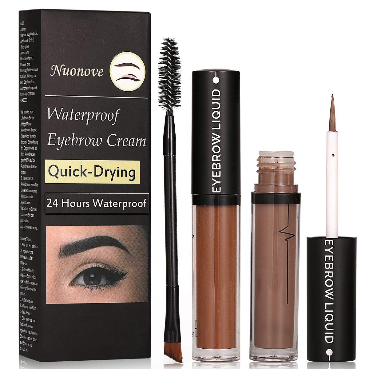 Eyebrow Gel Eyebrow Tint Eyebrow Cream, Professional Eyebrow Coloring Pomade Cream Waterproof Long Lasting,Long Lasting Eyebrow Gel for Waterproof Eyebrow Makeup Set 2 pc … (1pc) Nuonove