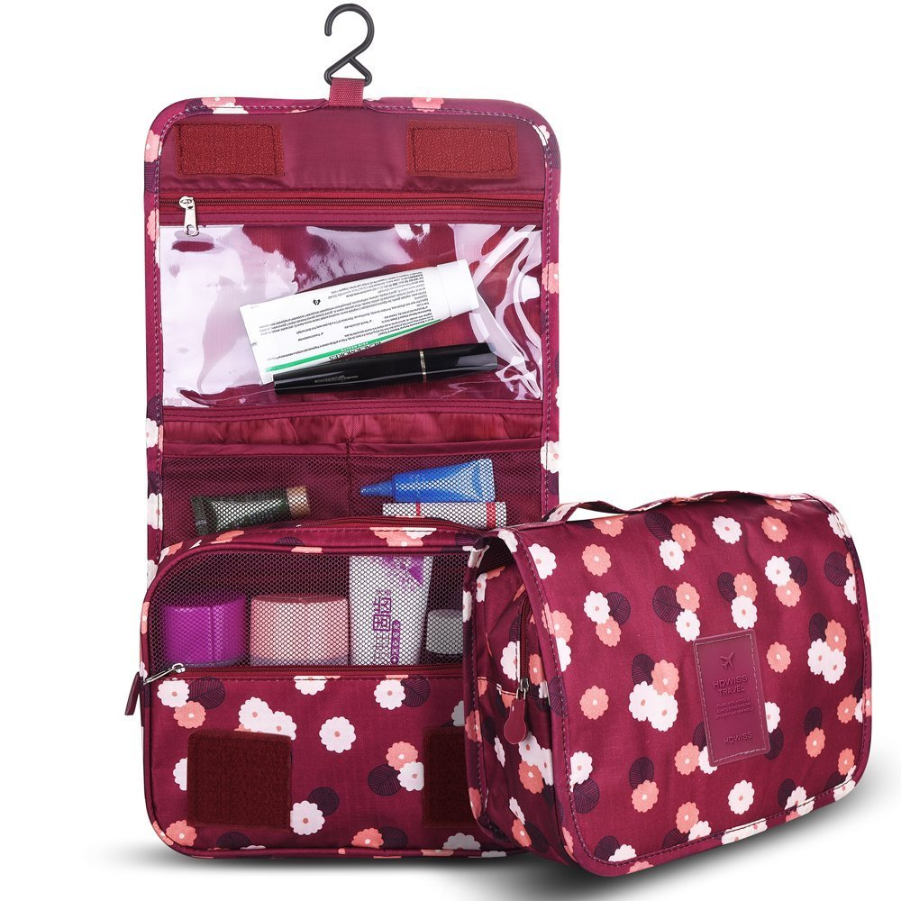 good Onerbuy Hanging Travel Toiletry Organizer Bag Portable Cosmetic Makeup Pouch Multifunction Bathroom Storage Carry Case with Hook & Velcro (Wine Red)