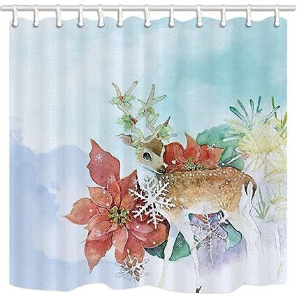 HiSoho Dream Shower Curtain Spring Tales Of Legendia Deer Elf Faery Flower Snow Fairyland