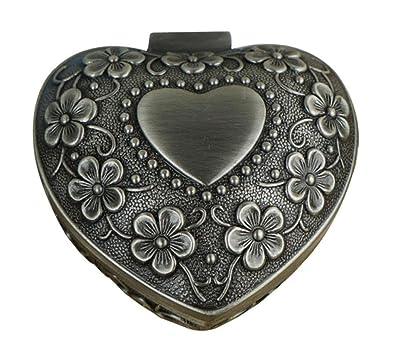 6679feb6fb53 Infinite U Lujoso Pequeño Corazón 5 Hojas Trébol Mujer Baratija Joyero  Antiguo Plateado-5 Opciones  Amazon.es  Joyería