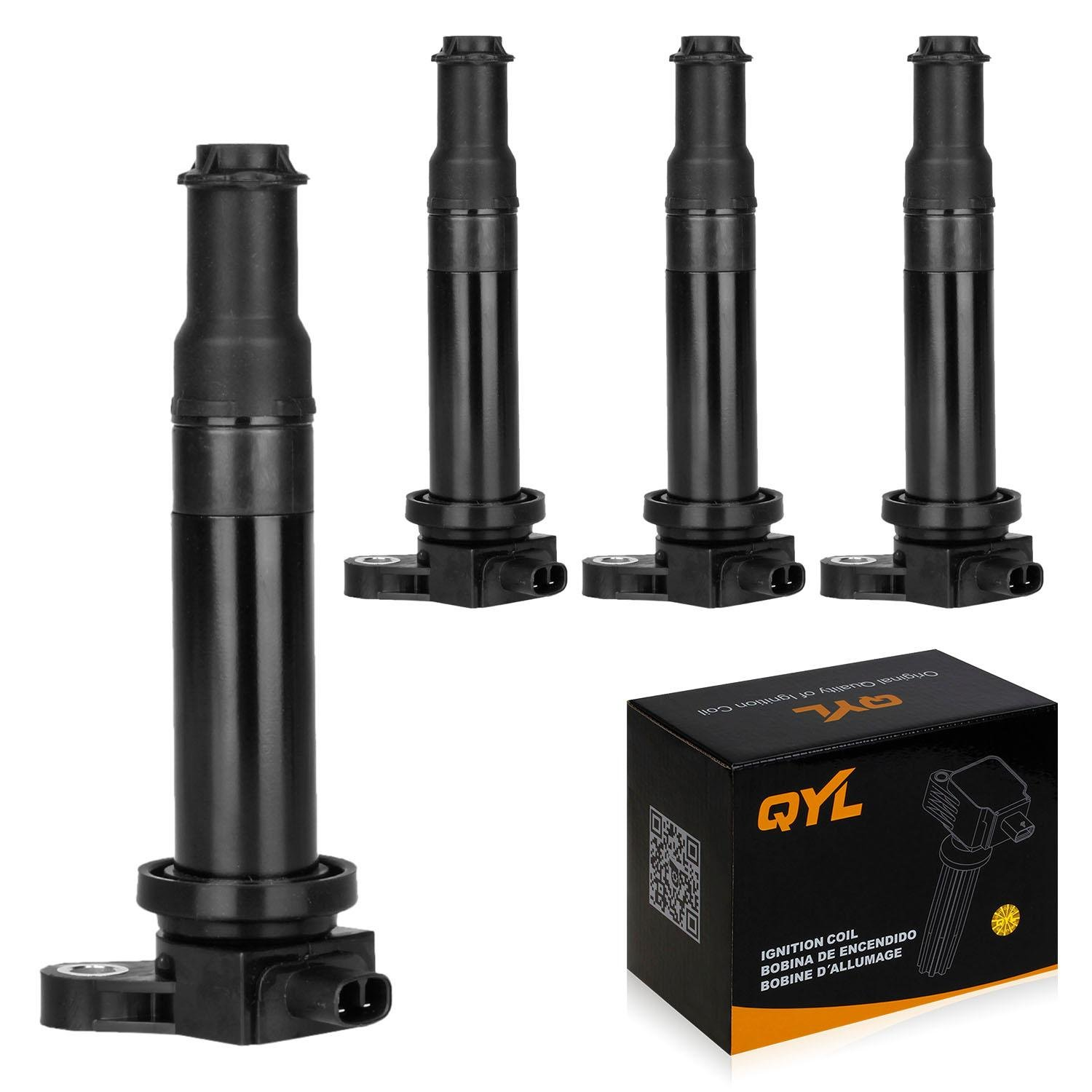 QYL Pack of 4 Ignition Coil Pack Replacement for Hyundai Accent Kia Rio Rio5 LX Attitude 2006-2010 2011 1.6L I4 UF499 27301-26640 C1543 5C1586 UF-499 by QYL