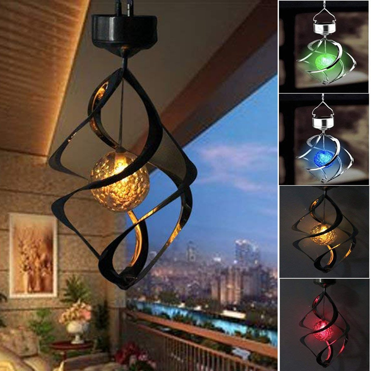 YAZJIWAN Solar Wind Chimes LED Colour Changing Hanging Wind Light Waterproof Spiral Spinner Lamp for Garden Yard Lawn Balcony Porch